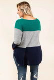 top, casual top, colorblock, blue, teal, navy, tie, gray, long sleeve