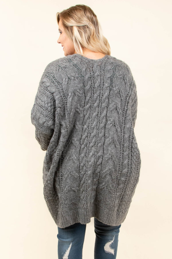 Coffee Please Cardigan, Charcoal