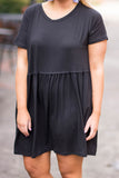 dress, short, short sleeve, babydoll, ruffled, flowy, black, solid, comfy