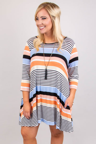 dress, three quarter sleeve, flowy, pockets, striped, coral, blue, white, black
