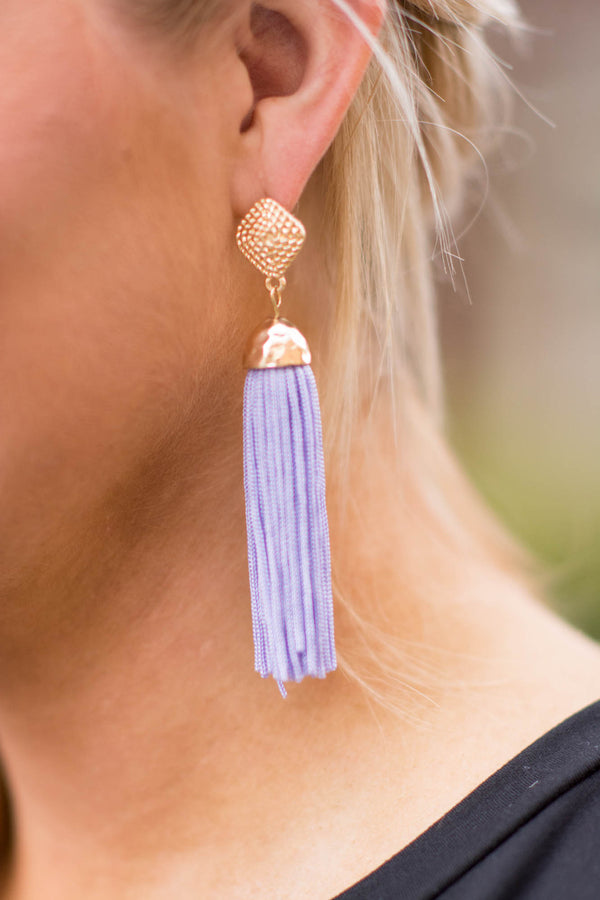 earrings, tassels, purple, gold, long
