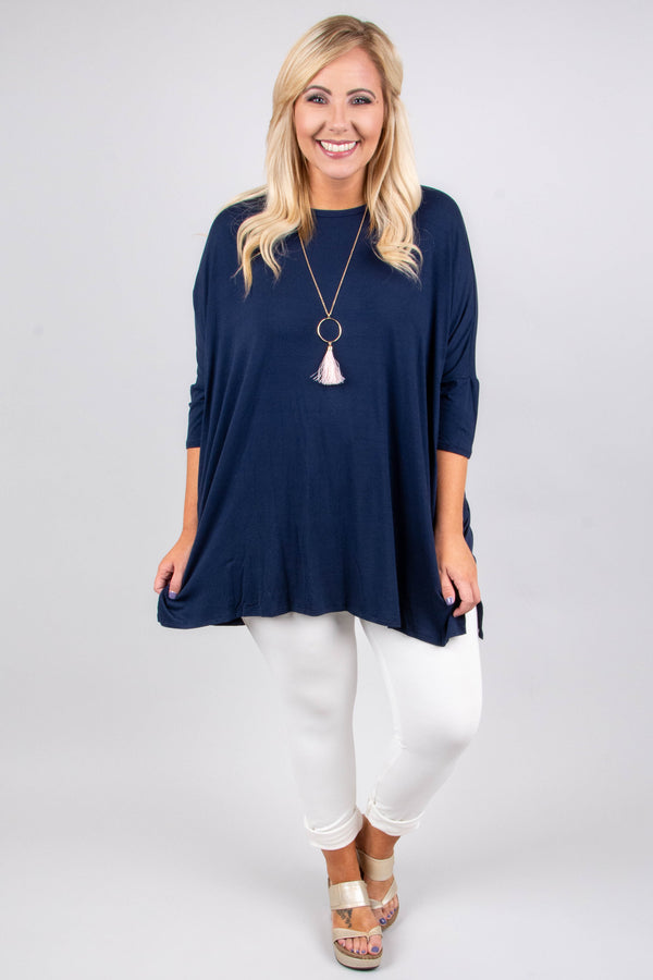 tunic, three quarter sleeve, pockets, long, flowy, navy, comfy, fall, winter