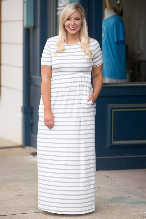 dress, maxi, short sleeve, fitted top, pockets, flowy skirt, white, gray, striped, comfy