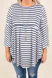 Easy Way Out Tunic, Ivory-Navy