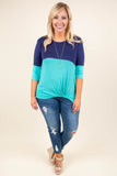 tunic, three quarter sleeves, twisted hem, navy, mint, colorblock, comfy
