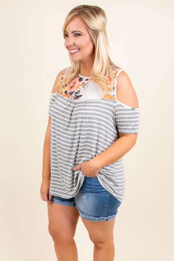 One To Remember Top, Heather Gray