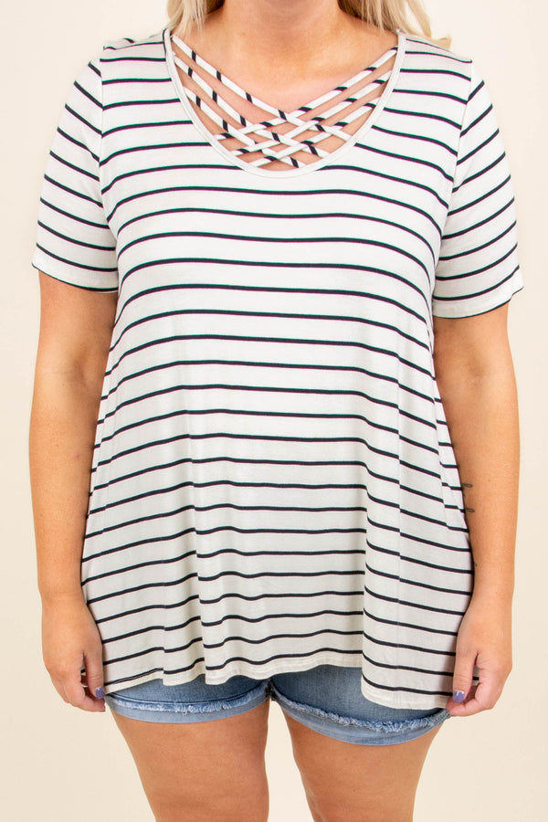 Let's Chat Top, Ivory-Navy