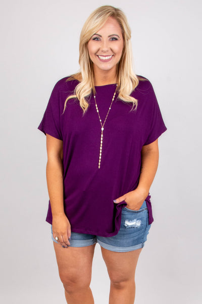 tunic, short sleeve, purple, solid, comfy, flowy, side slits