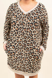 dress, short, long sleeve, vneck, fitted, pockets, oatmeal, brown, black, leopard, comfy, fall, winter