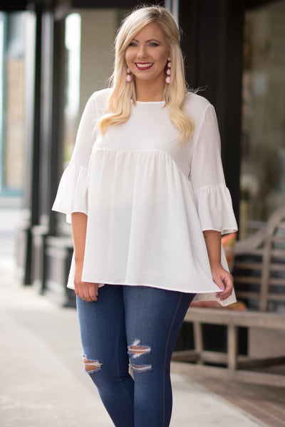shirt, three quarter sleeve, bell sleeves, babydoll, flowy, white, comfy