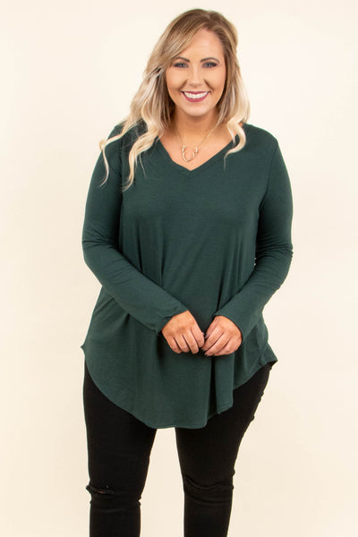 top, basic top, green, solid, long sleeve, comfy, layer, basic, fall, winter