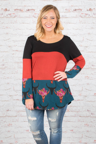 Grab Life By The Horns Tunic, Rust