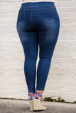 jeggings, blue, faded, ripped, long, skinny