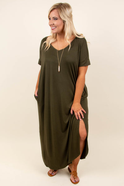 All Summer Long Maxi Dress, Dark Olive