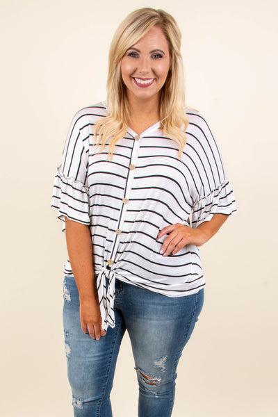 Keep It Easy Top, Ivory-Black