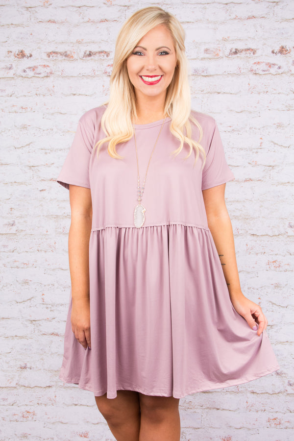 dress, short, short sleeve, babydoll, ruffled, flowy, lavender, solid, comfy