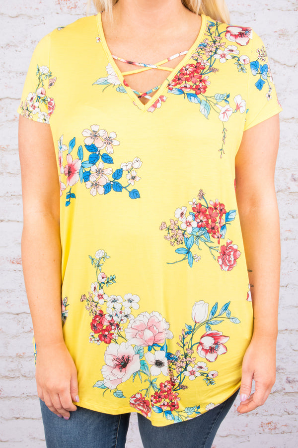 Blooming Delights Top, Yellow