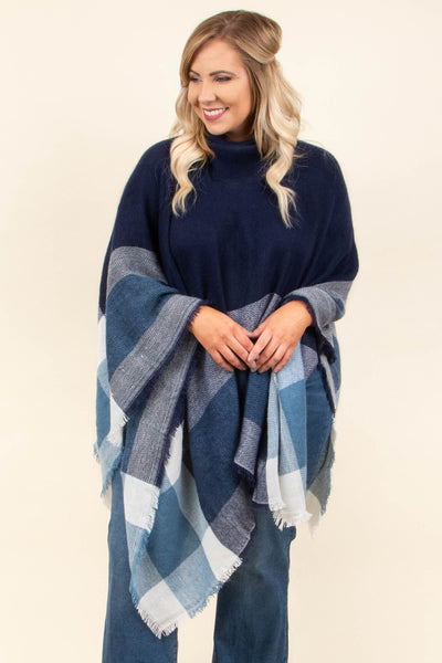 poncho, long sleeve, fringe, turtle neck, flowy, big, navy, white, blue, plaid, comfy, outerwear, fall, winter