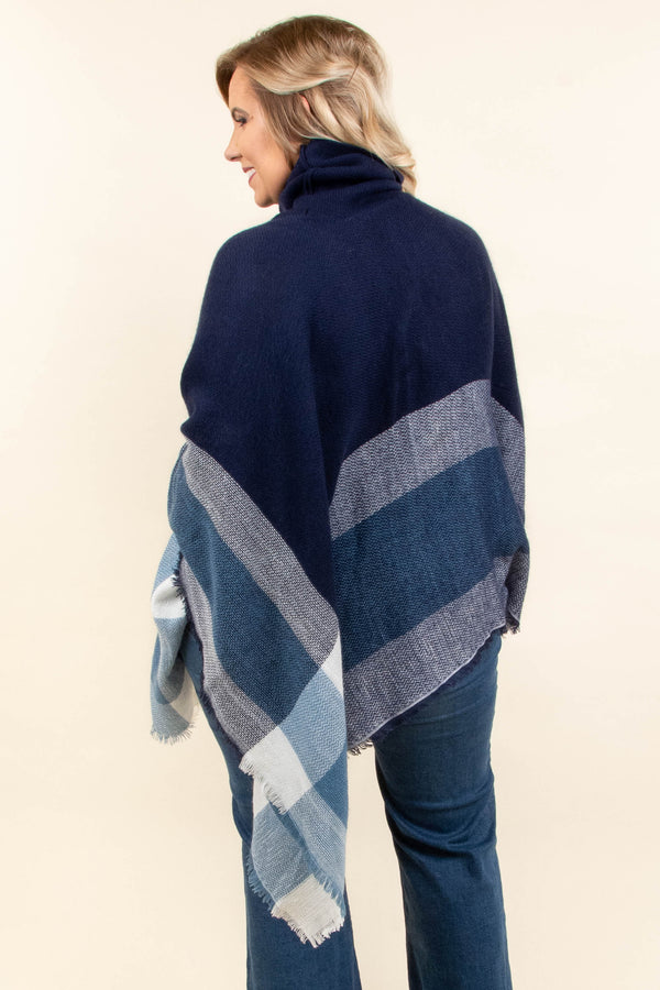 Wandering Through Town Poncho, Navy