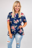 Blossoms Away Top, Navy