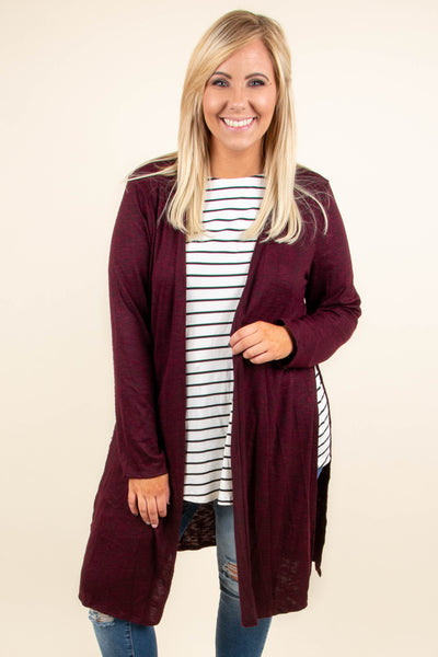 cardigan, long sleeve, long, side slit, burgundy, comfy, fall, winter
