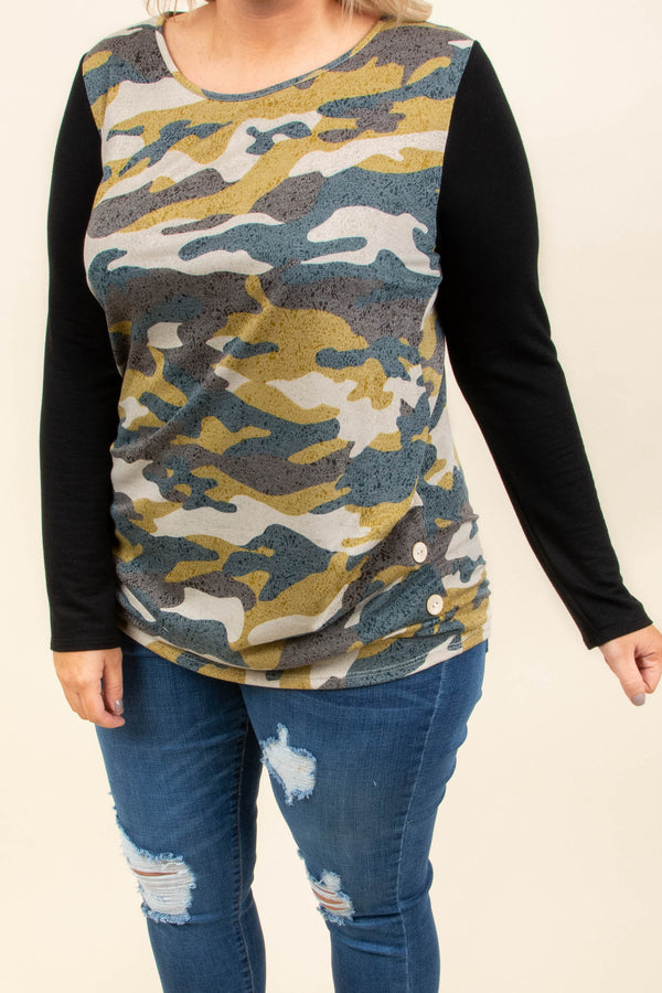 shirt, long sleeve, curved hem, fitted, mustard, tan, brown, green, camo, black sleeves, comfy, fall, winter