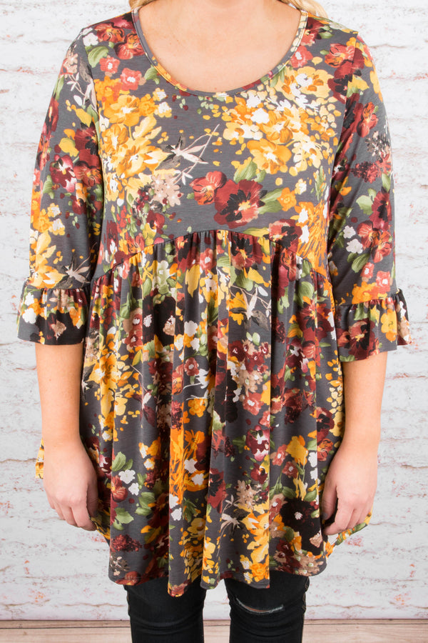 Colorful Arrangement Tunic, Gray
