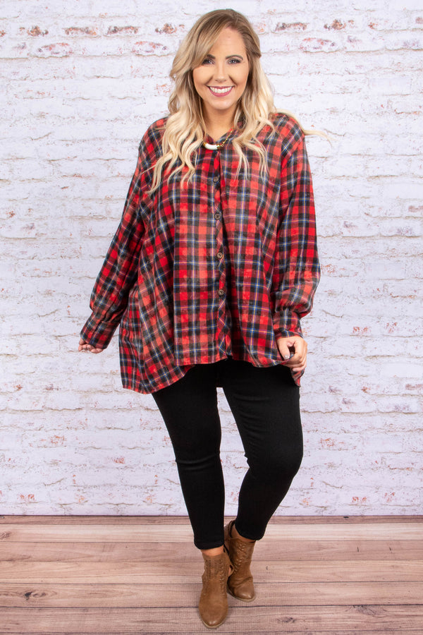 shirt, long sleeve, button down, vneck, longer back, flowy, red, black, white, plaid, comfy, fall, winter