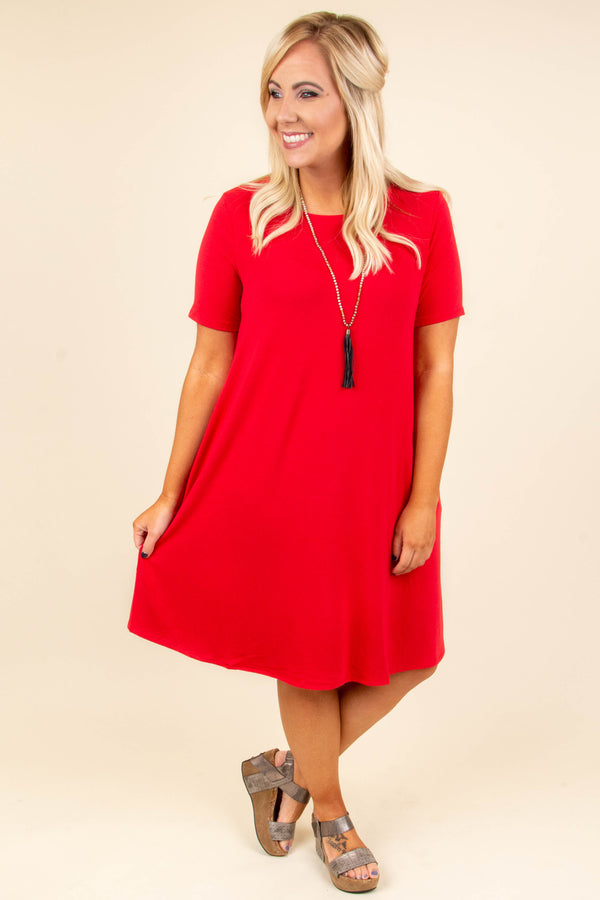 dress, ruby, short sleeve, flowy, fall, pockets