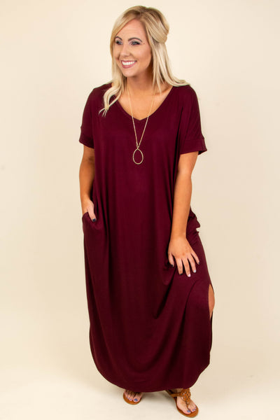 All Summer Long Maxi Dress, Dark Burgundy