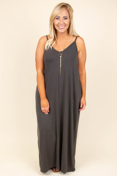 Watch The Fireworks Maxi Dress, Ash Gray