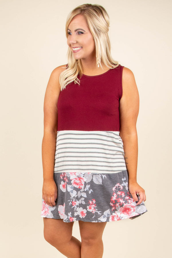 dress, short, sleeveless, flowy, burgundy, white, gray, stripes, floral, red, colorblock, comfy, spring, summer