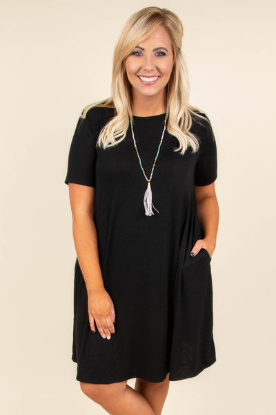 dress, black, short sleeve, fall, flowy, pockets
