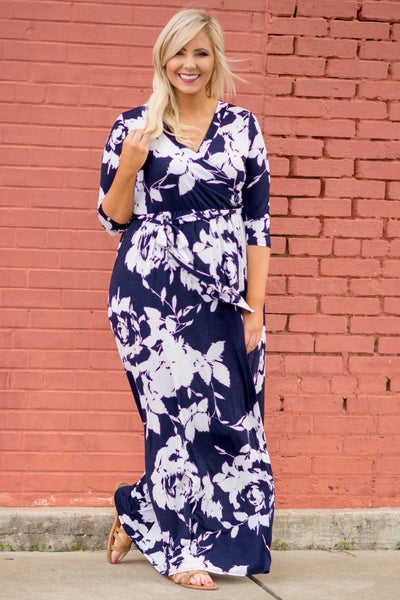 Beneath The Palms Maxi Dress, Navy-White