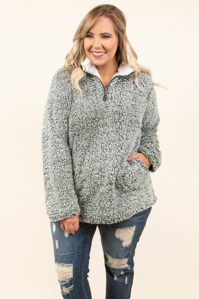 pullover, quarter zip, pockets, olive, fuzzy, comfy, fall, winter, outerwear