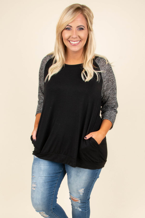 Chilly Afternoons Top, Black