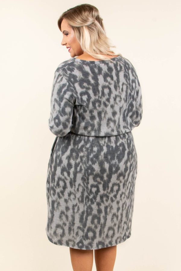 dress, short, long sleeve, tie waist, pockets, gray, leopard, flowy, comfy, fall, winter