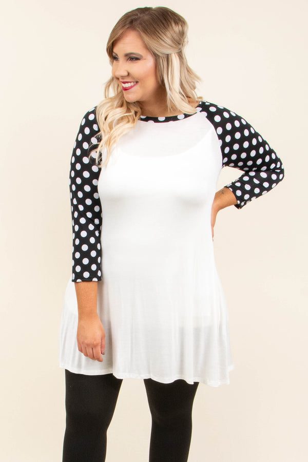 dress, three quarter sleeve, white, black sleeve, white polka dot, flowy