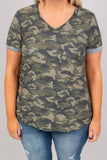 shirt, short sleeve, vneck, curved hem, comfy, olive, camo