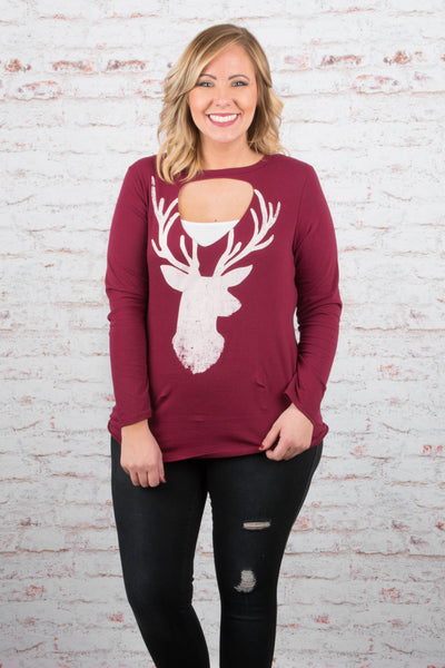 Wild And Free Top, Burgundy