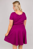 dress, short sleeve, short, scallop neckline, magenta