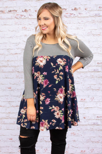Playful Personality Tunic, Navy