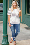top, ivory, black, stripe, short sleeve, loose