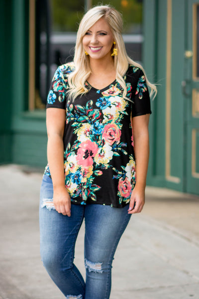 shirt, short sleeve, vneck, loose, black, floral, red, blue, yellow, green, comfy