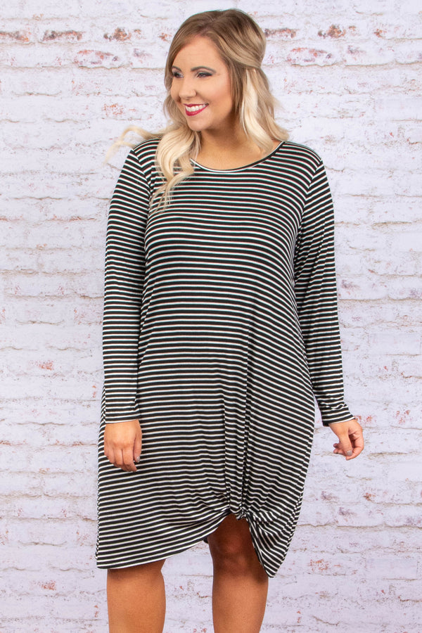 dress, short, long sleeve, knotted hem, flowy, black, white, striped, comfy, fall, winter