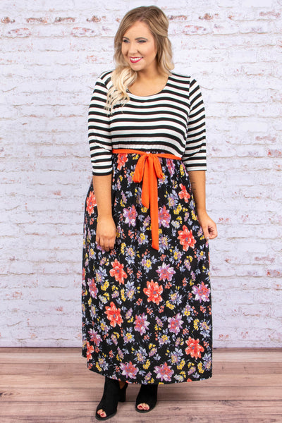 dress, maxi dress, floral, striped, black, white