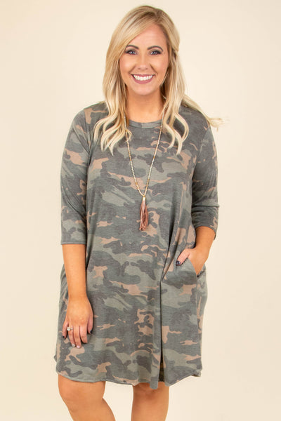 dress, short, three quarter sleeve, pockets, flowy, olive, camo, comfy