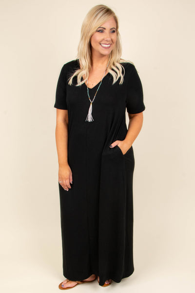 dress, maxi, short sleeve, vneck, pockets, flowy, black, comfy