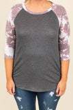 Casual Getaway Top, Charcoal-Pink