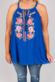 Always In Bloom Tank, Royal Blue